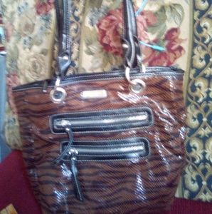Rosetti striped w/multi zipper purse